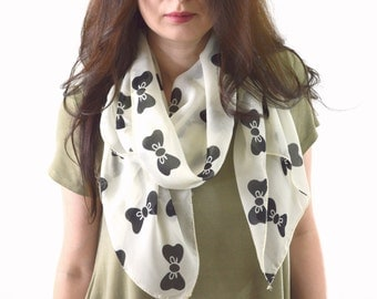 Bow Printed Scarf, Fashion Woman Scarf, Summer Scarf, Gift for Her