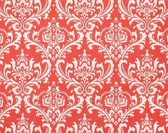 Premier Prints Ozbourne Coral White Damask Fabric by the Yard - Ready to ship