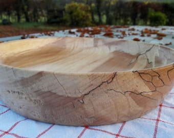 Hand Turned Silverbirch Wooden Bowl  (Fruit Bowl)