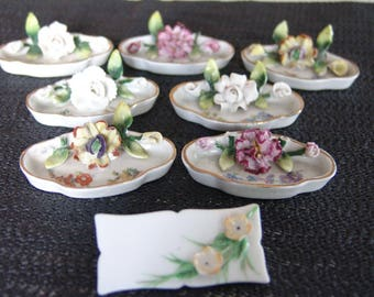 Group of Seven 19 century Flower Placecard Holders Germany one place card holder