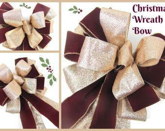 Christmas Wreath Bow - Gold and Burgandy