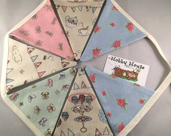 Bunting, fabric bunting, cottage chic, garland, reversible, shabby chic, country kitchen, pennant, decorative flag
