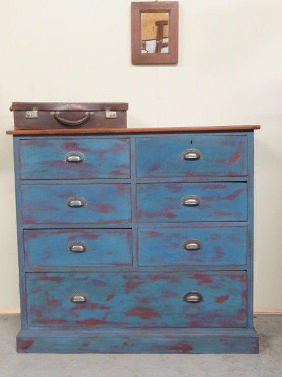 Blue distressed chest of drawers