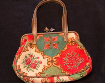 Vintage Beaded Rose Carpetbag Style Purse