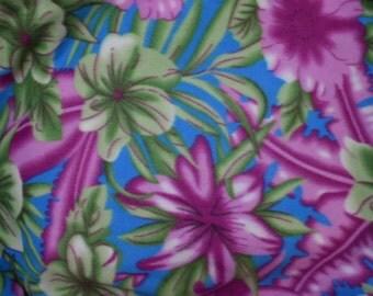 Island Flower Print Fleece Fabric by the yard