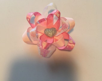 Pink and white heart hair bow