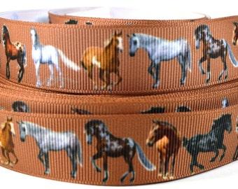 "7/8"" Horse Grosgrain Ribbon - Horse Ribbon - Western Grosgrain Ribbon - Animal Ribbon - Horse Grosgrain - Brown Grosgrain Ribbon"