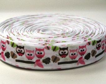"""1"""" Owls and Butterflies - Grosgrain Ribbon"""