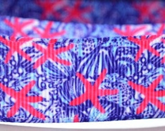 "7/8"" Starfish and Blue Seashell Print Grosgrain Ribbon"