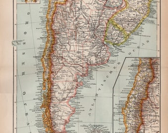 Antique Map of Chile and Patagonia, Chile, Patagonia, Map of Chile, Map of Patagonia, Chile Map, Patagonia, South America, South America Map