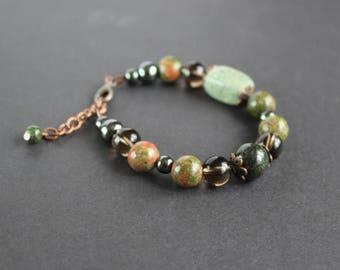 Forest green gemstone bracelet Unakite jasper bracelet Smokey quartz bracelet Serpentine bracelet Green gray jewelry Grounding calm bracelet