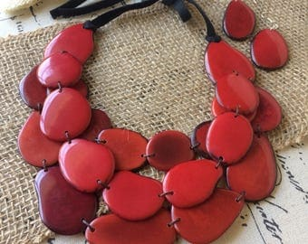 Red statement necklace and earrings set Tagua nut jewelry Big bold chunky necklaces Leather anniversary for her Mother of the groom gift