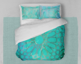 Boho Duvet Cover Set - Sea Green Duvet Cover Set - Queen Duvet Cover -  Duvet Cover Queen - Custom Duvet Cover - Watercolor Duvet