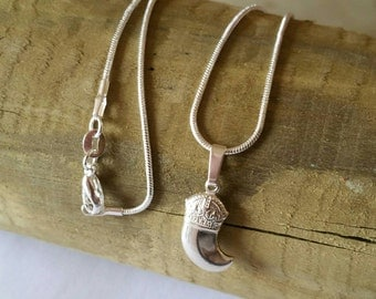 Necklace with pendant fang of Silver 925, pendant Fang, Necklace with 925 silver tusk pendant