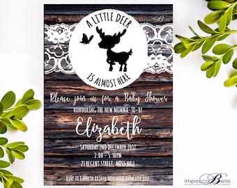 A Little Deer is Almost Here Baby Shower Invitation | Woodland Theme | Rustic Invitation | Baby Sprinkle | ImpeccaBelle Southern Highlands