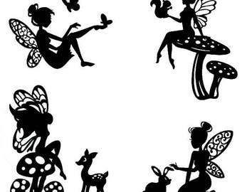 Woodland Fairy Die Cut Silhouette - Fairy cutouts x 9 or 12. For card making, scrapbooking, fairy jar, embellishment, party bag filler