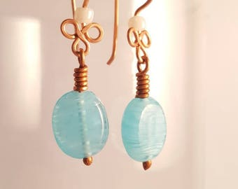 Copper dangle earrings, blue dangle earrings