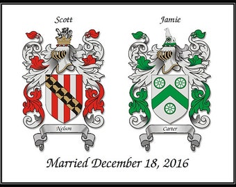 Wedding - Anniversary Gift, Two Coat of Arms + Wedding Date on One Print. 8.5X11 Parchment or White Background, Your Choice!