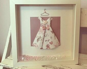 Girls Dress Frame, Baby Girl, Christening, Personalised, Nursery, Girls Room.
