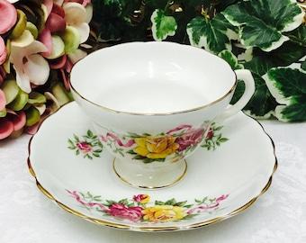 Bone china teacup and saucer.