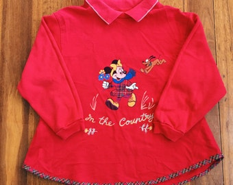Vintage Girls Minnie Mouse Red Sweater