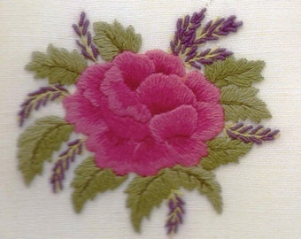 Rose and Lavender: a crewel embroidery kit for beginners