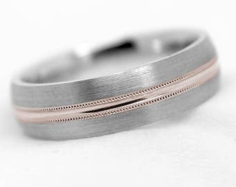 6mm 10k 14k or 18k White and Rose Gold or Silver Wedding Band, One tone gold Ring, Two tone Brushed ring with Polished Line, Mil-grain, 6059