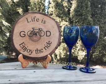 CUSTOM WOOD SIGN  Life is Good bicycle gift cycling gift personalized sign custom sign wedding gift rustic home decor signs enjoy the ride
