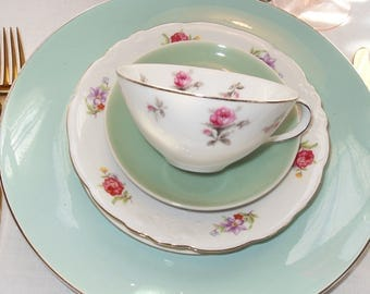 Mismatched Tea Set Aqua and Chintz China Place Setting  Vintage Set of Four