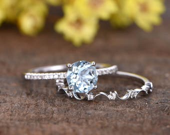 1.2ct natural blue aquamarine ring set,2pcs Reco engagement ring set,14k white gold wedding band,Floral band,SI diamond,bridal promise ring