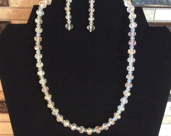 18' Swarovski Crystal Clear AB Necklace & FREE Matching Earrings