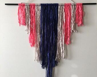 Modern Hanging Wall Art | Yarn Wall Art | Warm Gray, Royal Blue, Soft Pink