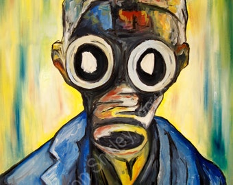 Doctor Who Painting, Doctor Who Art, Gas Mask Art, Geek Art, Oil Painting, Empty Child Doctor Who