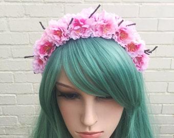 Cherry Blossom Flower Crown, Pink Cherry Blossom, Boho Wedding, Blossom Headband, Pink Flower Crown, Pink Hair Flowers, Bride Headband
