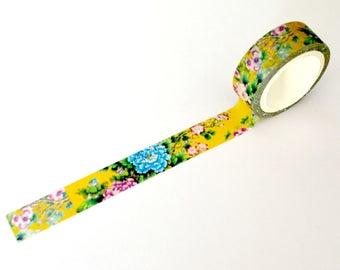 Mustard Floral Washi Tape 15mm