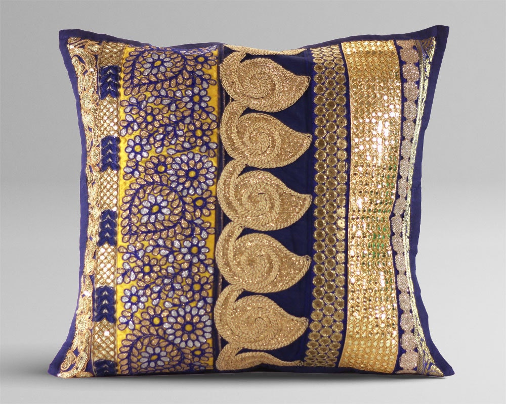 Navy Blue And Gold Decorative Pillows : Blue Throw Pillow Decorative Pillow Navy Blue by AjrakStudio
