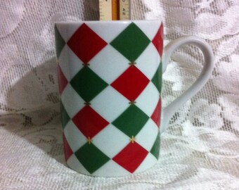 Vintage Harlequin Coffee Mug Cup Red Green and Gold