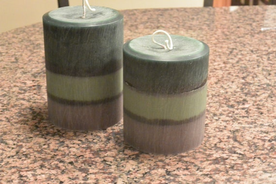 One of a kind candle set! 2 Pillar candles hand poured. Fresh pine scent!