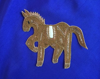 Indian Horse Zardozi Embroidery Patch, Handmade Golden Zari Royal Animal Patch Old Gold Bullions Applique, Zari Embroidery Patch, 10 X 11cm