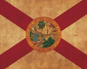 Vintage Florida Flag on Canvas, Florida,  Flag, Wall Art, FloridavPhoto, Florida Print, Fine Art, Sunshine state, Single or Multiple Panels