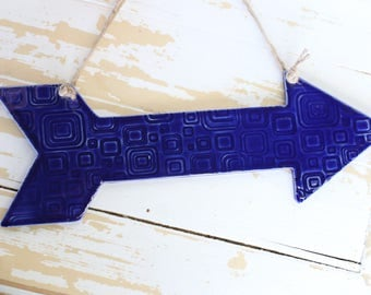 Cobalt Blue Arrow Hanging Art/Pottery Texture Arrow/Blue Arrow Wall Hanging/Arrow Home Decor/Blue Pottery Art Piece/Cobalt Lace Wall Art