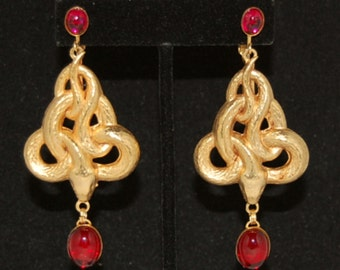 Snake Earrings with Ruby Red Stones - 24kt Gold Plated  3""
