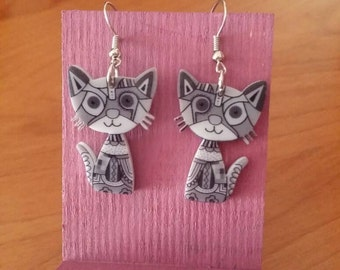 Grey Cat Earrings