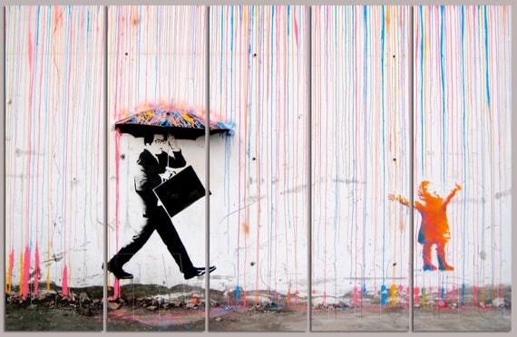 color rain banksy graffiti spray painting stenciling technique. Black Bedroom Furniture Sets. Home Design Ideas