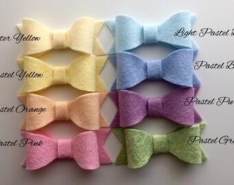 Handmade Pastel Wool Blend Felt Hair Bow Barette or  Headband