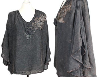 TRUE VINTAGE 80's unique layered look shabby chic tie-dyed poncho tunic blouse Gr. 44