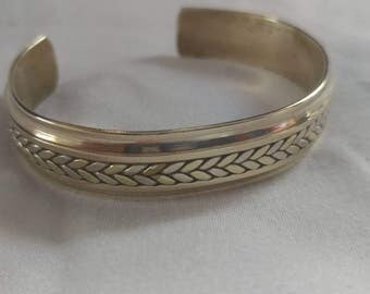 VINTAGE: Brass and Stainless Steel Cuff Bracelet