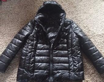 Women's Lightweight Black Puffer I Love by Boy Meets Girl Polka Dot Lined Hooded Winter Zip Up Coat Size 1X Vintage