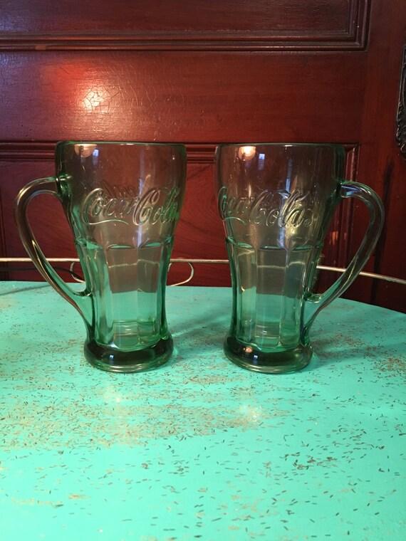 vintage set of 2 coca cola coke heavy drinking glasses mugs 16. Black Bedroom Furniture Sets. Home Design Ideas