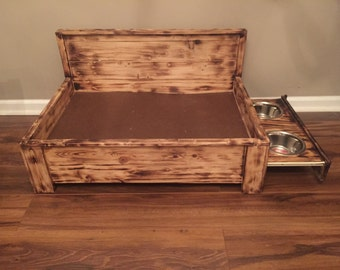 Rustic wood dog bed with pull out feeding station- Raised dog bed with built-in food stand- Medium Pet Bed